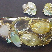 Sparkling Lemon Yellow Rhinestone Bracelet and Earrings
