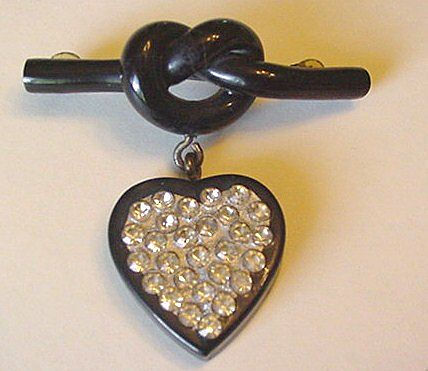 Celluloid and Rhinestone Dangling Black Heart Pin