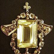 Prominent Retro Modern 14k & 18k Gold Citrine and Diamond Pendant Necklace