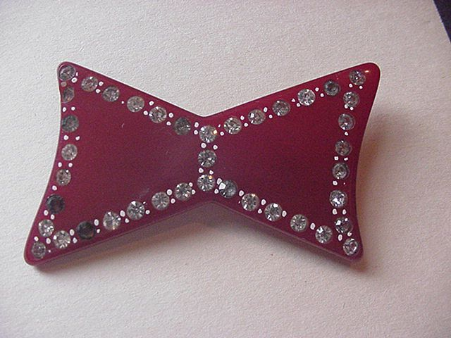 Vintage Bakelite and Rhinestone Bow Pin