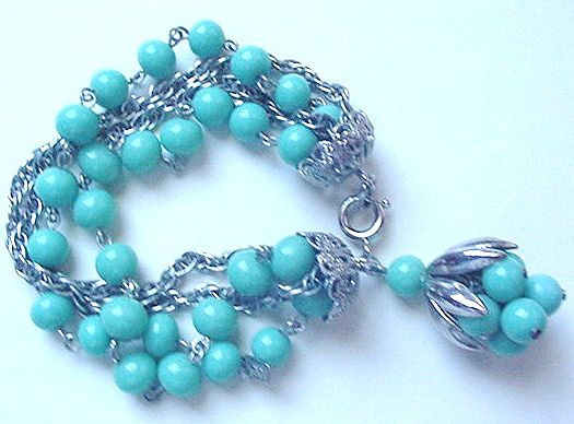 Turquoise Blue Glass & Silvertone Chains Bracelet