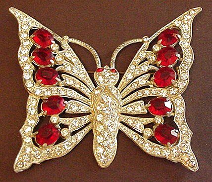Huge Pot Metal Ruby Red Rhinestone Butterfly Pin
