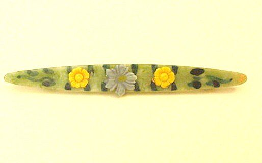 Celluloid Bar Pin with Applied Flowers