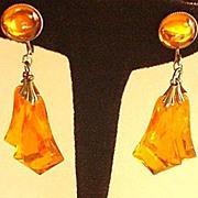 Sweet Orange Lucite Drops Earrings