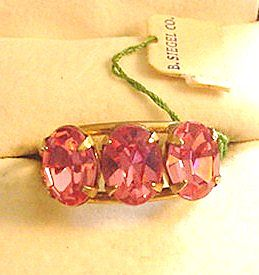 Vintage Pink Rhinestone Ring New with Tag