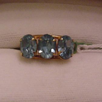 Vintage New with Tag Blue Rhinestone Ring