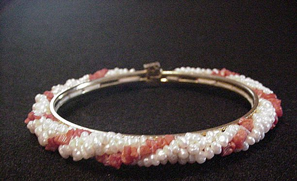 Coral and Rice Pearl Hinged Bangle Bracelet