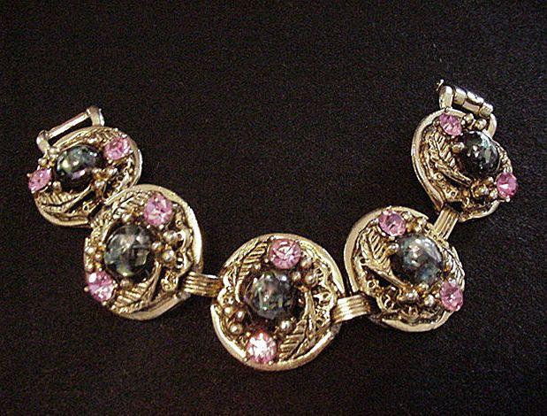 Big Confetti Lucite and Pink Rhinestone Bracelet