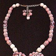 Hobe Pink Glass Droplets Necklace