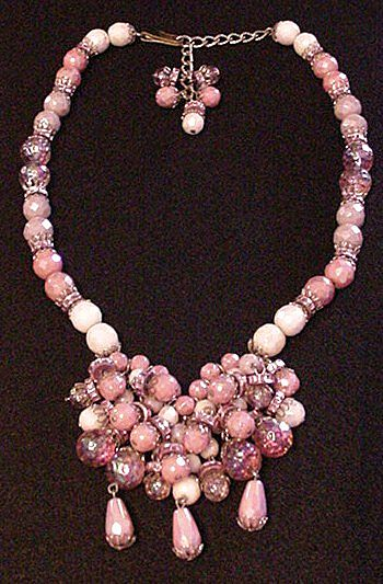 Hobe Pink Glass Droplets Necklace