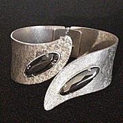 Textured Bracelet with Hematite Rhinestones