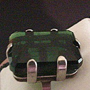 Sterling Silver Green Glass Ring