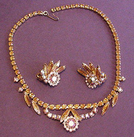 Amber Rhinestone Necklace and Earrings