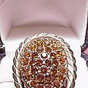 Large Ring  Amber Rhinestones