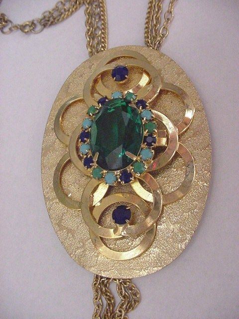 Extra Large 1960's Rhinestone Pendent Necklace