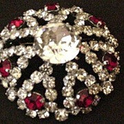 Red and Clear Austrian Rhinstone Pin