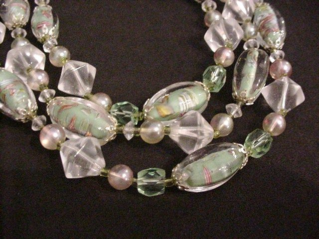 Sommerso Green Venetian Glass Beads Necklace