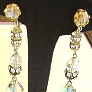 Rhinestones and Crystal  Drops Earrings