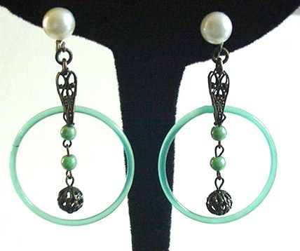Art Deco Green Glass and Brass Earrings