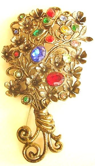 Large Potmetal and Rhinestone Pin