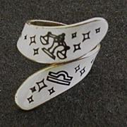 Vintage Enameled Zodiac Ring Libra