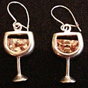 Sterling Silver Champagne Glass Earrings
