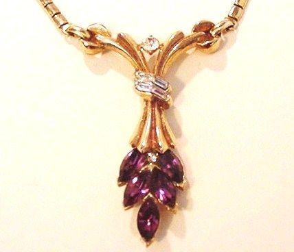 Trifari Amethyst Rhinestone Necklace