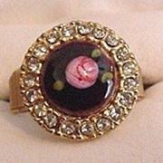 Enameled Rose and Rhinestones Ring