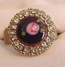 Enameled Rose and Rhinestones Ring