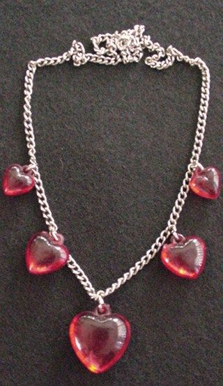 Translucent Red Hearts Necklace