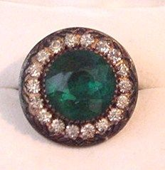 Sterling Silver and Green Rhinestone Ring