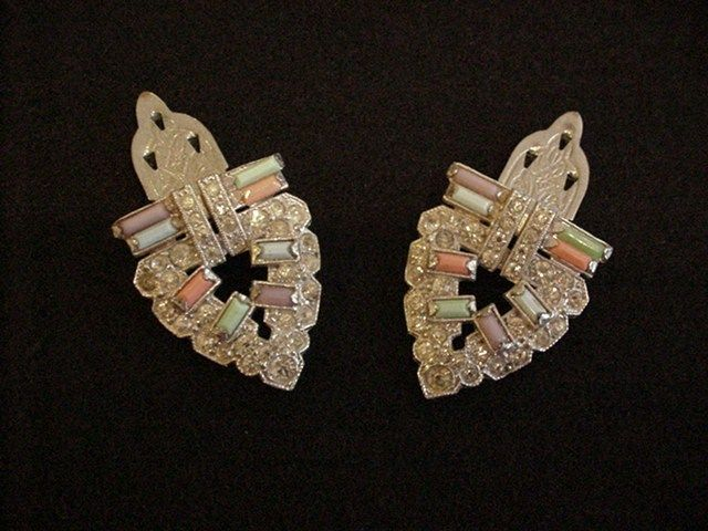 Art Deco Opaque Rhinestones Dress Clips