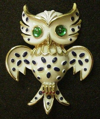 Trifari Pet Series Owl Pin
