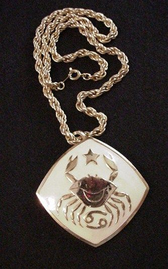 Hattie Carnegie Astrology  Zodiac Pin / Pendant Necklace