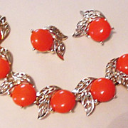 Bold Orange Bracelet and Earrings
