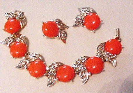 Bold Orange Bracelet and Earrings