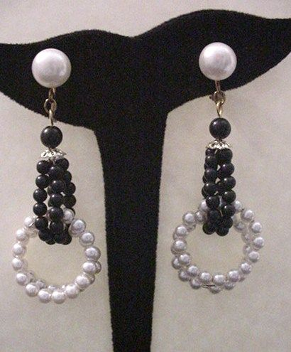 Vintage Black and White Earrings