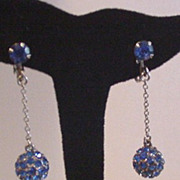 Blue Rhinestone Ball Drop Earrings