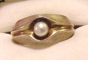 Poland Sterling Silver and Pearl Ring