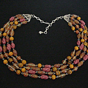 Vintage Orange Art Glass Necklace