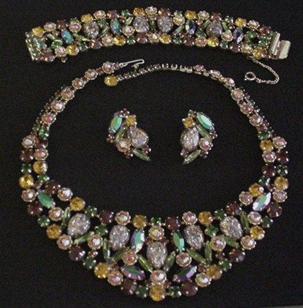 Superb D and E Rhinestone Necklace, Bracelet and Earrings