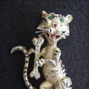 Rhinestone & Enamel Tiger Pin