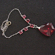 Red Glass Rhinesone Necklace
