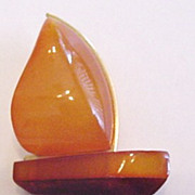 Genuine Amber Sailboat Pin