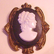 Large Black and White Celluloid in Brass Cameo Pin