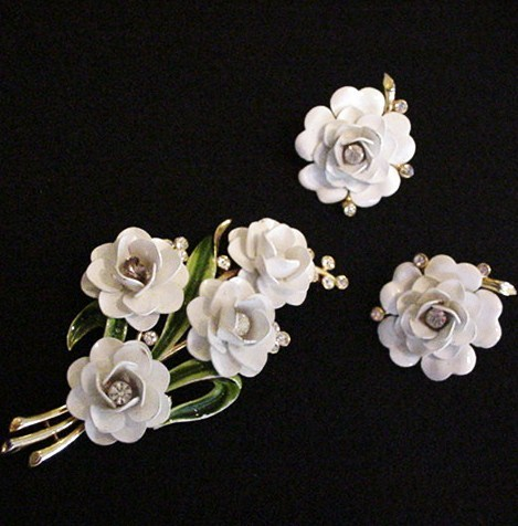 Trifari Wedding Cake White Flower Pin and Earrings