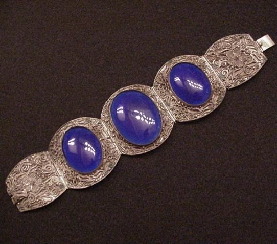 Superb Chinese Import Filigree & Cobalt Glass Bracelet