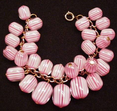 Cotton Candy Stripped Beads Bracelet