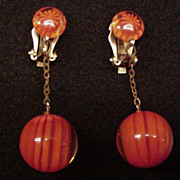 Orange Striped Lucite Earrings
