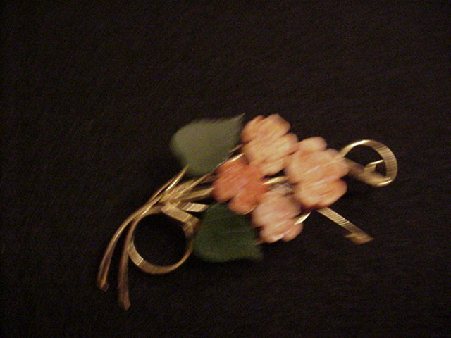 Carved Coral and Jade Pin